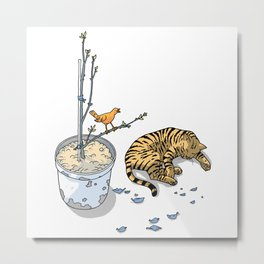 Sleeping cat and singing bird - Animal Lover - Nature -  Tranquility Metal Print