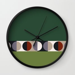 malevich moon || pine green Wall Clock