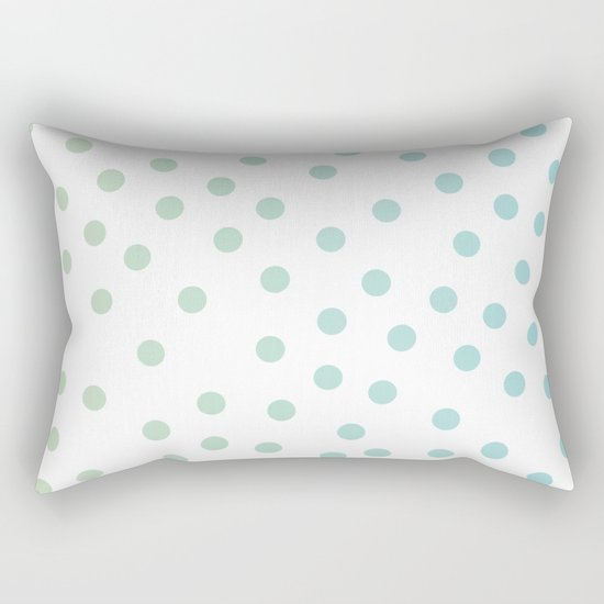 Simply Dots in Turquoise Green Blue Gradient on White Rectangular Pillow