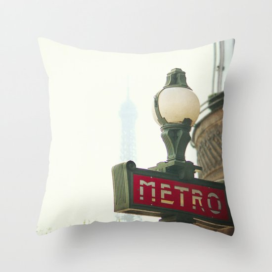 Metro in Paris Throw Pillow