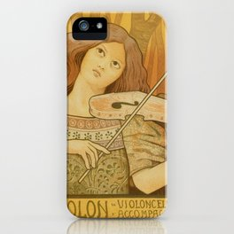 Violin lessons vintage French advertising iPhone Case