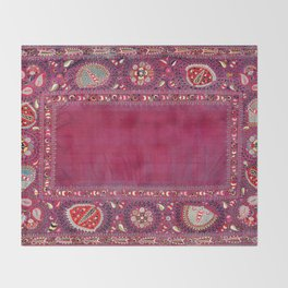 Shakhrisyabz  Southwest Uzbekistan Suzani Embroidery Print Throw Blanket