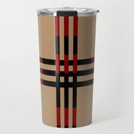 Red and Taupe Fall Design Travel Mug