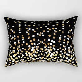 Floating Dots - White and Gold on Black Rectangular Pillow