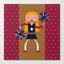 American Cheerleader with pom-poms Canvas Print