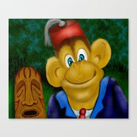 fez Canvas Prints featuring Chimp In A Fez by Gene S Morgan