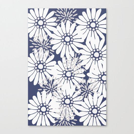Summer Flowers Dark Blue Canvas Print