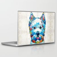 westie Laptop & iPad Skins featuring Colorful West Highland Terrier Dog Art Sharon Cummings by Sharon Cummings