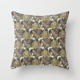 William Morris Variation Periwinkle Blue and Marigold Colors Throw Pillow