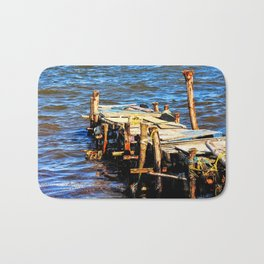Fisherman's Dock: Dennery Village, Saint. Lucia Bath Mat
