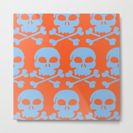 Skull Crazy- Lt Blue on Orange Metal Print