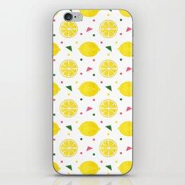 Sunshine yellow watercolor tropical lemon triangles dots pattern iPhone Skin