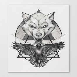 Wolf and Crow - Emblem Canvas Print