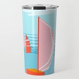 Quepasa - memphis throwback retro minimal modern neon boating yacht club sailing summer sport Travel Mug