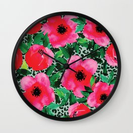 Watercolor Red and Pink Flowers Wall Clock