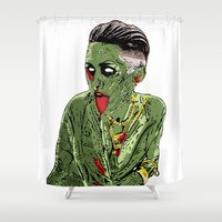 miley cyrus Shower Curtains featuring Miley Cyrus Zombified by Peter_Vs_All