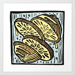 Oranges in Space - Linoprint Art Print