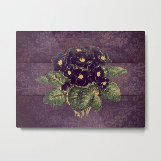 Violettes on vintage purple distressed damask Metal Print