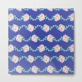 Watercolor flower garland on blue Metal Print
