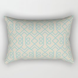 Aqua and Beige Minimal Diamond Loop Pattern 2021 Color of the Year Aqua Fiesta and Sourdough Rectangular Pillow