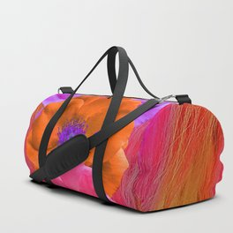 Faux Fur and Flowers Duffle Bag