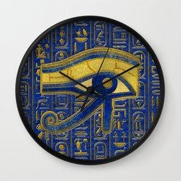 Gold Egyptian Eye of Horus - Wadjet Lapis Lazuli Wall Clock