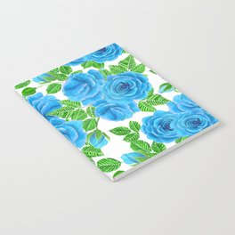 Blue roses watercolor seamless pattern Notebook