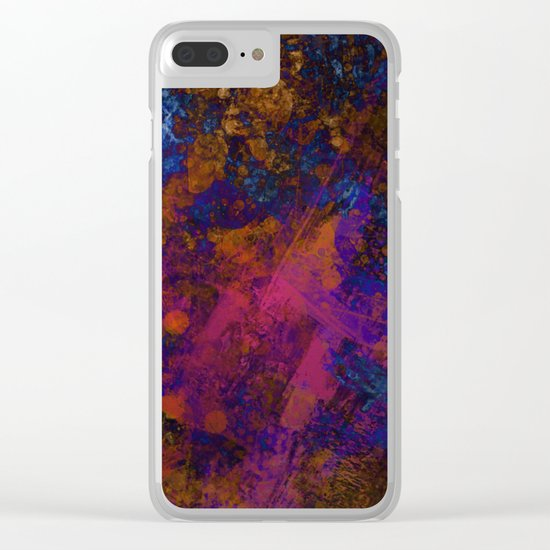 Day Dreaming - Abstract, metallic, textured, paint splatter style artwork Clear iPhone Case