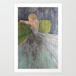 Green Couch Bride Art Print