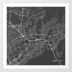Hampton Map, USA - Gray Art Print