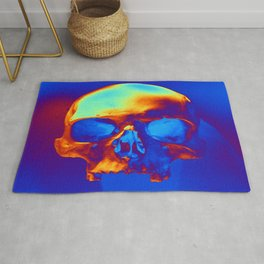 Skull in blue and gold Rug
