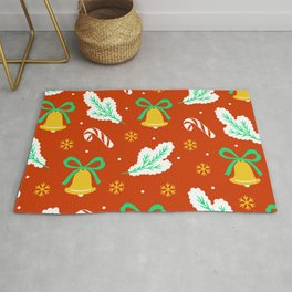 Christmas Bells and Candy Canes Pattern Rug