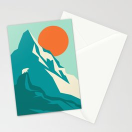 As the sun rises over the peak Stationery Cards