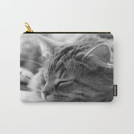 Sleeping cat, cat photography, black & white. Carry-All Pouch