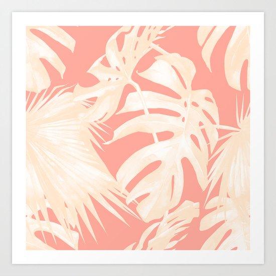Tropical Coral Pink Palm Leaf Pattern Art Print