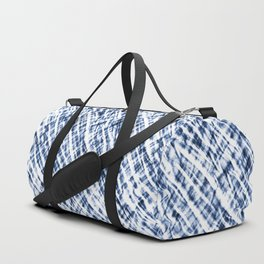 Tie Dye Criss-Cross Design in Indigo Blue and White Duffle Bag