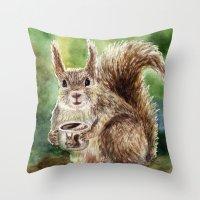 squirrel Throw Pillows featuring Squirrel by Anna Shell