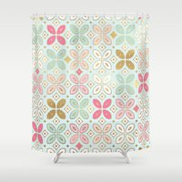 moroccan Shower Curtains featuring MOROCCAN TILE by Monika Strigel