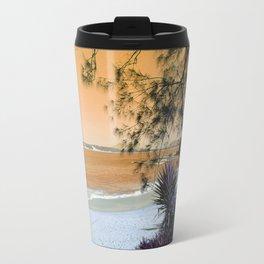 Tropical Beach in with Cacti in Orange Travel Mug