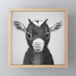 Baby Goat - Black & White Framed Mini Art Print