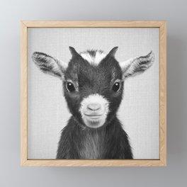 Baby Goat - Black & White Framed Mini Art Print