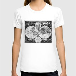 Vintage Map of The World (1685) Black & White T-shirt