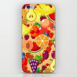 Flat fruits seamless pattern. Flat Illustrations of watermelon, banana, cherry, apple iPhone Skin