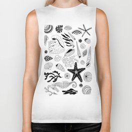 Tropical underwater creatures and seaweeds Biker Tank