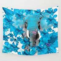 elephant Wall Tapestries featuring Elephant  by Saundra Myles