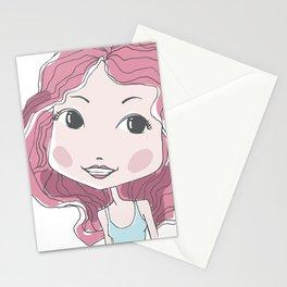 Cute stylish girl portrait Stationery Cards