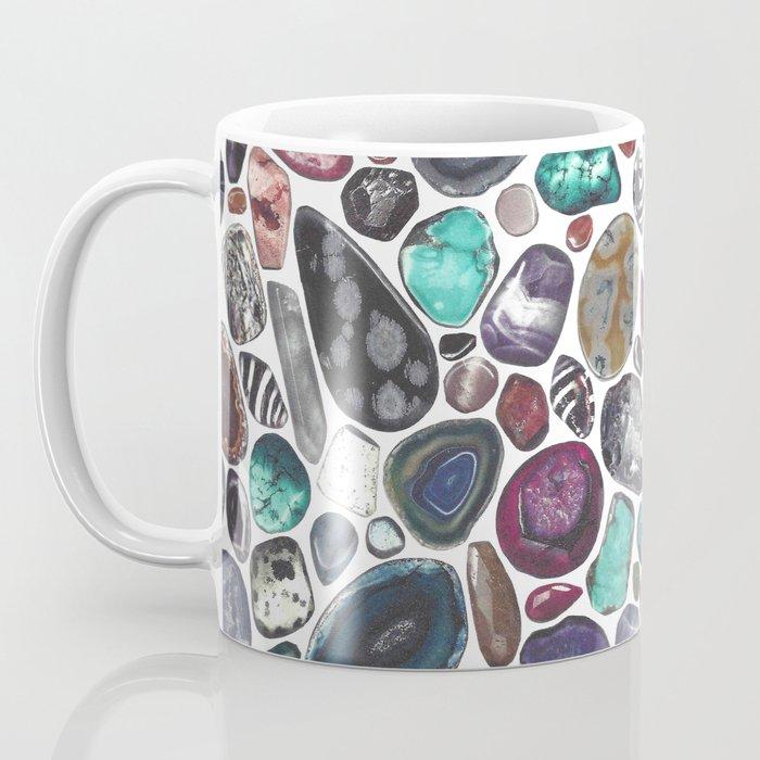 MIXED GEMSTONES ON WHITE Coffee Mug