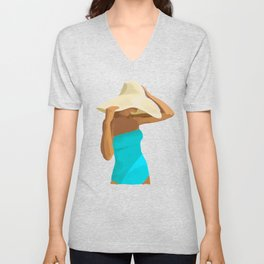 At the Beach: Aqua suit Unisex V-Neck