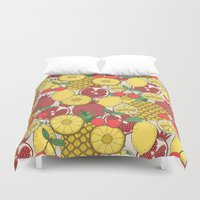 fruit Duvet Covers featuring Fruit by Valendji