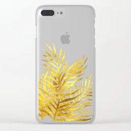 Palm Leaves_Gold and Rose Quartz Clear iPhone Case